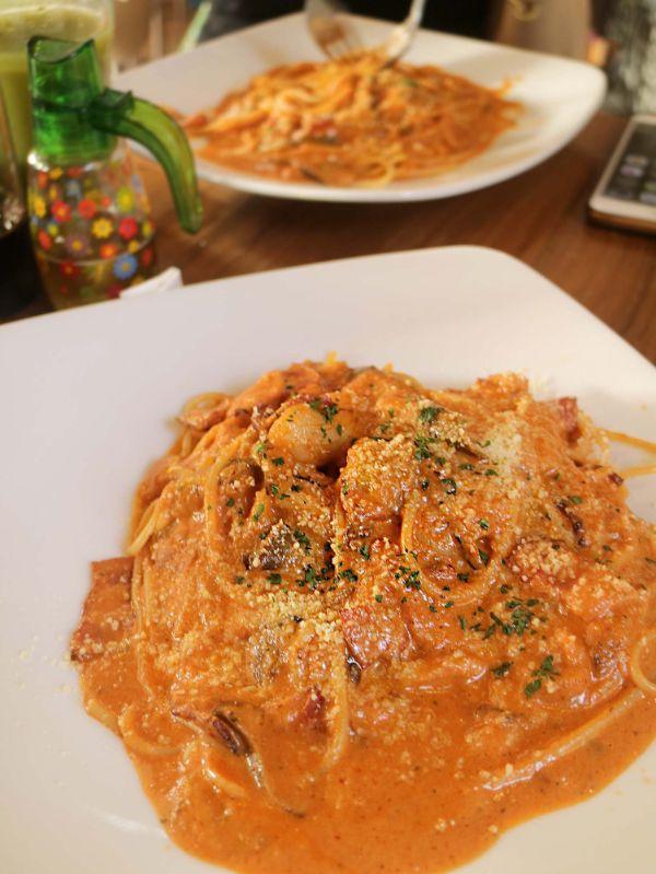 ナスとベーコンのトマトクリームソース・スパゲティ