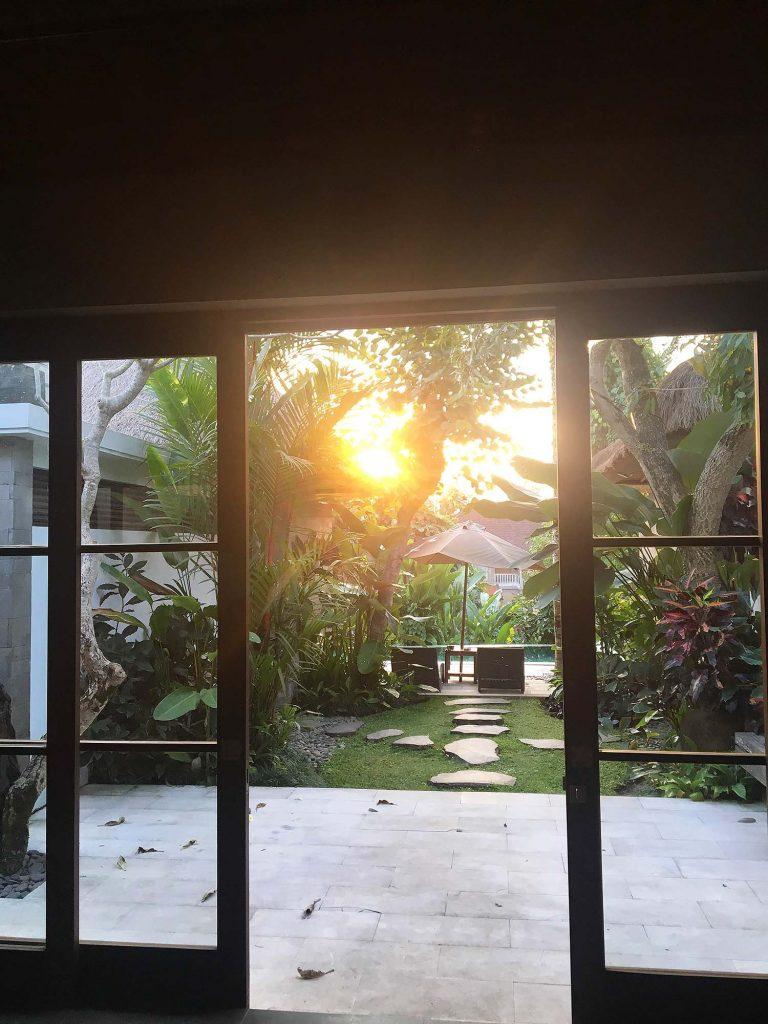 Luwak Ubud Villaからの夕日